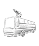 Zilveren Autobus ketting hanger - 1_