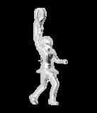 Zilveren Tennisspeelster ketting hanger_
