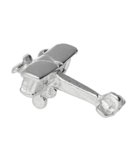 Zilveren Vliegtuig ketting hanger - dubbeldekker_