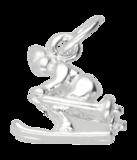 Zilveren Skier ketting hanger - klein 2_