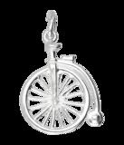 Zilveren Velocipede fiets ketting hanger - antiek_