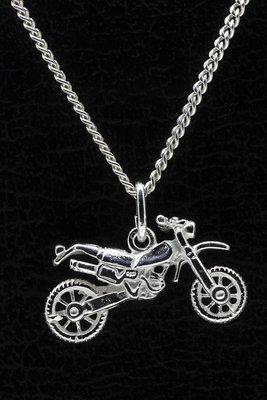 Zilveren Crossmotor ketting hanger