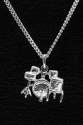Zilveren Drumstel ketting hanger