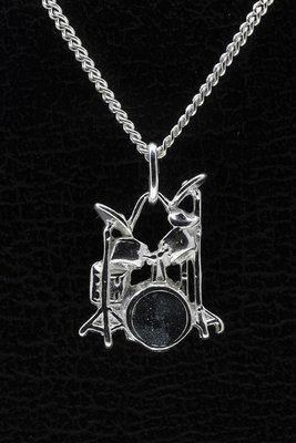 Zilveren Drumstel ketting hanger - 2