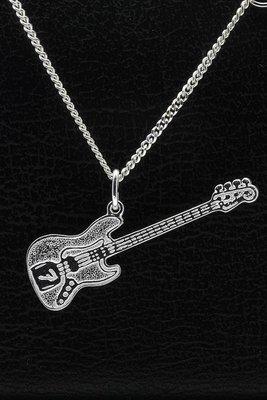 Zilveren Electrische basgitaar Fender ketting hanger
