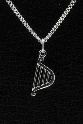 Zilveren Harp ketting hanger - 2