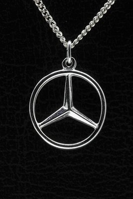 Zilveren Mercedes ster ketting hanger