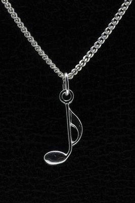Zilveren Muzieknoot ketting hanger