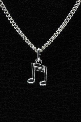 Zilveren Muzieknoten ketting hanger