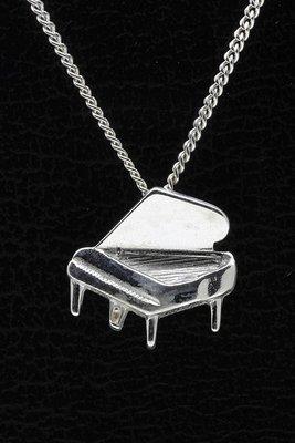 Zilveren Piano ketting hanger - open