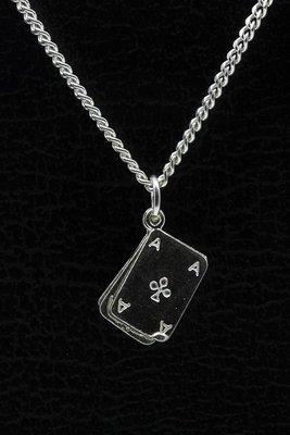 Zilveren Poker ketting hanger