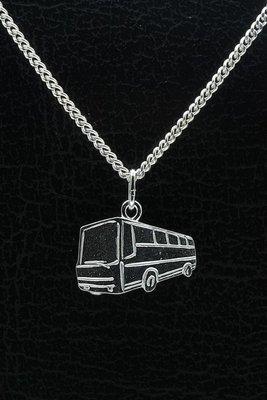 Zilveren Autobus ketting hanger - 1