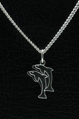 Zilveren Dolfijn vlak ketting hanger - dubbel