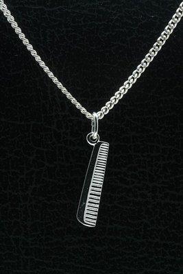 Zilveren Kam recht ketting hanger