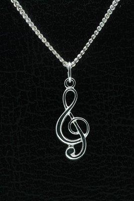 Zilveren Muzieksleutel ketting hanger - groot