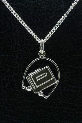 Zilveren Walkman ketting hanger