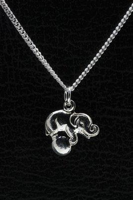 Zilveren Olifant ketting hanger - op bal