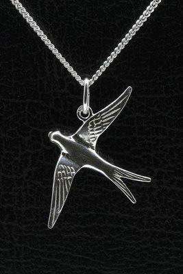 Zilveren Zwaluw ketting hanger