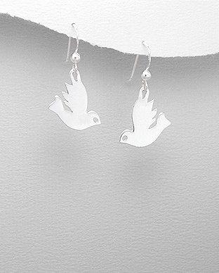 Zilveren vrede's duif oorhanger