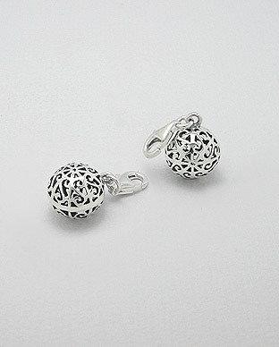 Zilveren bonte bal bedel