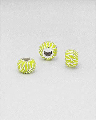Zilveren emaille bead - deco geel