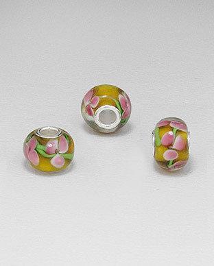 Zilveren glas bead - deco bloem
