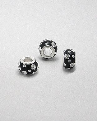 Zilveren glaskristal bead - deco zwart
