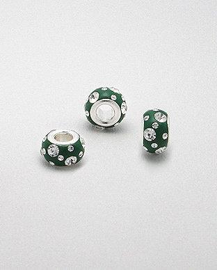 Zilveren glaskristal bead - deco groen