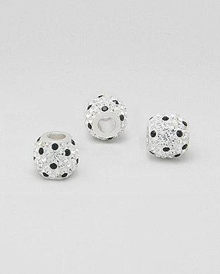 Zilveren glaskristal bead - deco zwarte spikkel