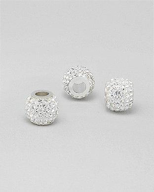 Zilveren glaskristal bead - deco kristal blanc