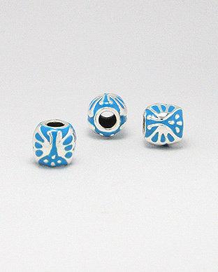 Zilveren emaille bead - deco 2 licht blauw