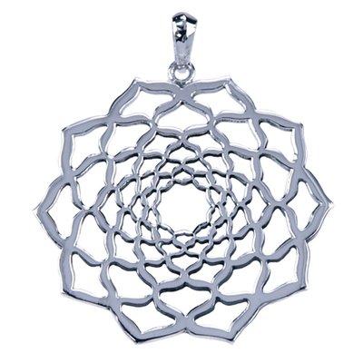Zilveren Lotus hanger - opengewerkt