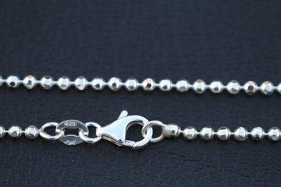Zilveren ketting Bolletjes geslepen - 3. Middel - dikte 2,2 mm - 70/80/90 cm