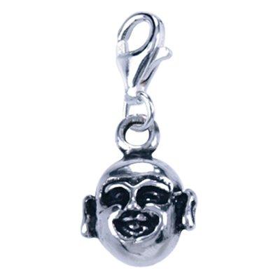 Zilveren Hotei hoofd bedel