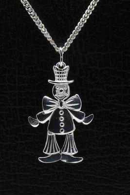 Zilveren Clown ketting hanger - bewegend