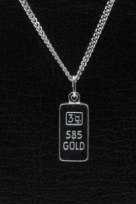 Zilveren Goudbaar ketting hanger