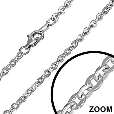 Zilveren ketting Anker 3. middel - dikte 2,4 mm - 45/50/60/70/80/90 cm
