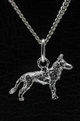 Zilveren Mechelse herder ketting hanger - klein