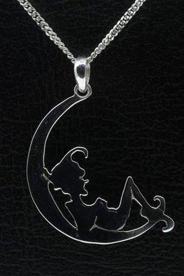 Zilveren Kabouter in maan ketting hanger