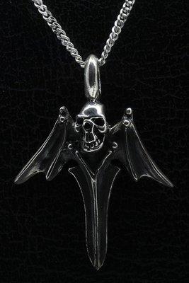 Zilveren Doodskop met vleugels ketting hanger