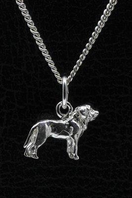 Zilveren Mastiff ketting hanger - klein