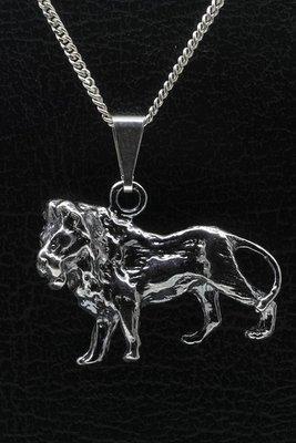 Zilveren Leeuw ketting hanger - groot