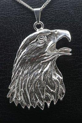 Zilveren Arend kop ketting hanger - XL blank
