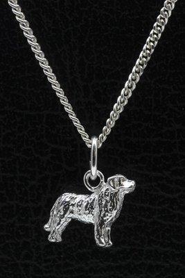 Zilveren Mastin de los pinieos ketting hanger - klein