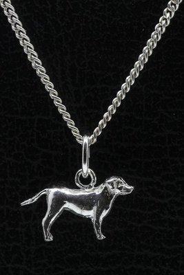 Zilveren Entlebucher sennenhond met staart ketting hanger - klein