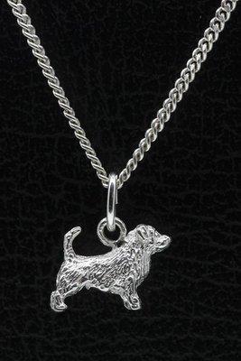 Zilveren Glen of imaal terrier met staart ketting hanger - klein