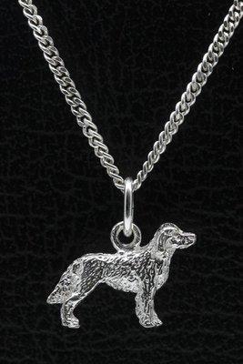 Zilveren Epagneul francais ketting hanger - klein