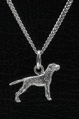 Zilveren Griffon korthals met staart ketting hanger - klein