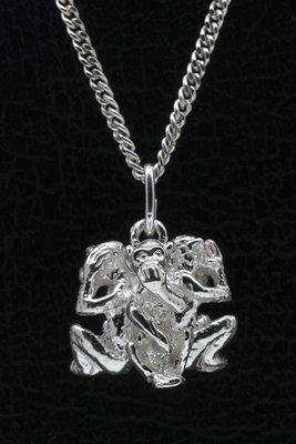 Zilveren 3 Apen - horen, zien en zwijgen ketting hanger