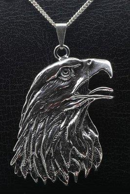 Zilveren Arend kop ketting hanger - XL gezwart